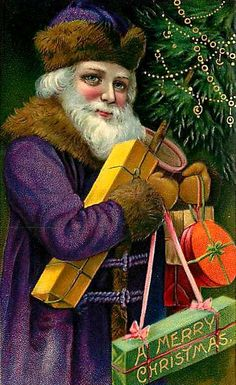 Vintage Christmas postcard Santa in purple robe