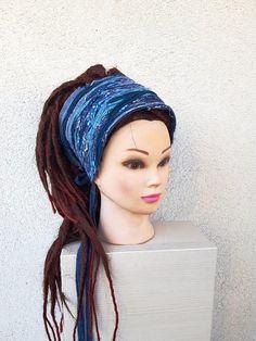 3eb7cf991e4 Denim Diy Frayed Headband Dreadlock Accessories Jeans Blue Turquoise Teal  Unique Head wraps Patchwork Gypsy Clothing Hippie Obi Belt