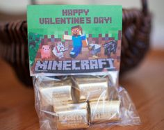 Minecraft (Inspired) BIRTHDAY / Valentine's Day Photo Treat Bag Toppers Card - You Print