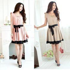 Korean fashion women Casual Flouncing sleeve Sash Waist Chiffon Dress  Sundress