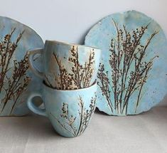 Tea pair motley grass.Ceramics And Pottery.