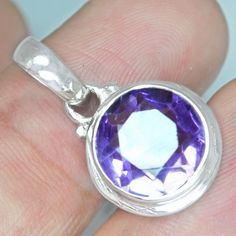 2.97 Gm 925 Sterling silver Natural Pendant Amethyst High Quality Lovely Jewelry