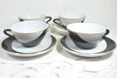 Expresso Coffee Cups and Saucers Black White by Dupasseaupresent