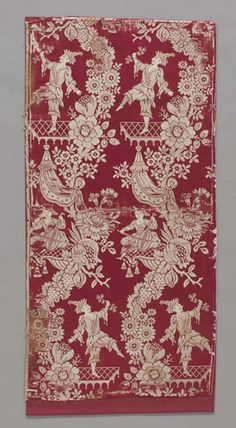 Chinoiserie furnishing fabric with dancer and musician  Silk; lampas  Inches: 38.5 (length), 19.5 (width)  1750-1799 AD  French; Rococo  Area of Origin: France; Western Europe; Europe