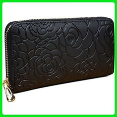 896a500c2ac82 YALUXE Women s Rose Pattern Genuine Leather Zip Wallet Coin Pocket (Gift  Box) Black - Wallets ( Amazon Partner-Link)