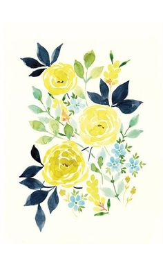 Indigold limited edition print by Stephanie Ryan #flowers #watercolor