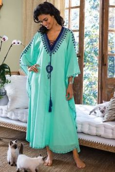 Capri Caftan - Exotic caftan strikes the perfect note of easy elegance. | Soft Surroundings #SoftSurroundings #Coupon #Code