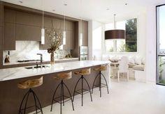 cuisine minimaliste en blanc et marron