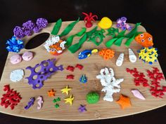 Nemo, Dory, coral and other undersea creature fondant cake decorations