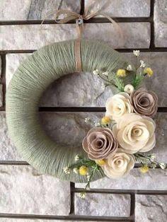 Yarn Wreath Handmade Felt Decoration 12 Sage Green by SasiRose. , via Etsy. Felt Flower Wreaths, Felt Wreath, Fabric Wreath, Wreath Crafts, Diy Wreath, Felt Flowers, Felt Crafts, Easter Crafts, Fabric Flowers