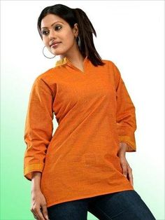 Womens Indian Kurti Cotton Tunic Top India Clothing (Orange) - http://www.desitoga.com/kurti/womens-indian-kurti-cotton-tunic-top-india-clothing-orange/