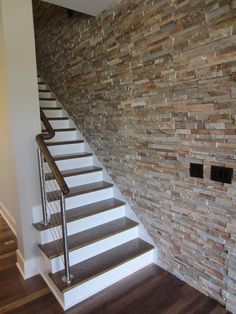 Inspiration image for staircase, cable railing systems straight stairs Interior Stairs, Interior And Exterior, Stair Brackets, Straight Stairs, Cable Railing Systems, Porch Stairs, Stairs Stringer, Rise And Run, Building Stairs