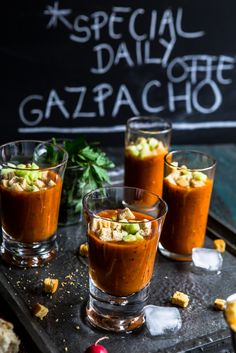 Gazpacho with roasted red pepper