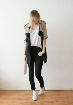 Drapey navy/khaki trench + drapey U-neck tee + high-waisted black skinnies cuffed + white hi-top Converses Outfits With Converse, White Converse, Fashion Books, Fashion Outfits, White Canvas Shoes, Korean Girl Fashion, Cold Weather Outfits, Black Skinnies, Autumn Winter Fashion