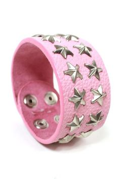 Pink Star Style Leather Wristband