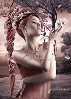 Gorgeous, gorgeous fan art!  She looks a bit like Aerith, with the hair, thought I'm not sure if she's meant to be.