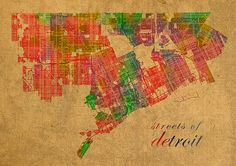 Detroit Michigan Street Map Schematic Watercolor On Worn Parchment