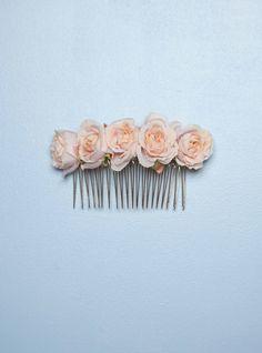 accessoires cheveux de mariage peigne fleurs en soie p che corail rose poudr www. Black Bedroom Furniture Sets. Home Design Ideas