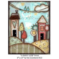 A HAPPY LIFE Original Art Print 8 x 10 by AJoyfulSoulGifts on Etsy, $15.00
