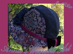also @ Gregarianne on Etsy-hats-maryannkaelin-Black Tapestry with bow