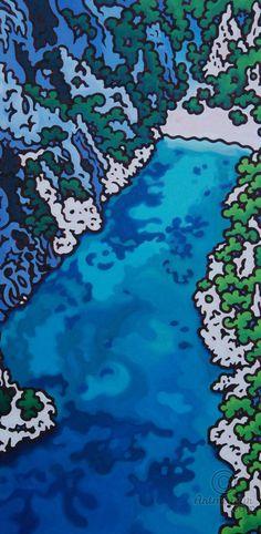 En-vau, vue du ciel - Peinture,  100x200x3 cm ©2016 par Gwendoline Pieters -                                                            Art figuratif, Toile, Paysage marin, calanques de Cassis, peinture