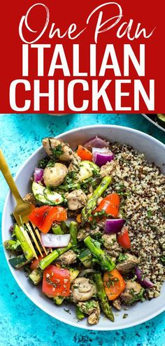 This30-Minute One Pan Italian Chicken Skillet is a delicious, low calorie meal that you can enjoy as lunch meal prep or for dinner. #onepan #chickenskillet #italianchicken Clean Eating Recipes, Lunch Recipes, Whole Food Recipes, Vegetarian Recipes, Healthy Recipes, Delicious Recipes, One Pot Dinners, Easy Weeknight Dinners, Affordable Healthy Meals
