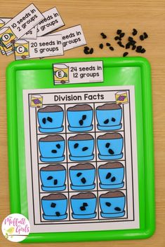 SEED DIVISION: Flip a card. Fill the potting soil to show the correct number of groups. Count to find how many seeds are in each group. Core Learning, Learning Shapes, Multiplication Problems, Multiplication And Division, Teaching Division, Numbers Preschool, Third Grade Math, Math Concepts, Math Facts