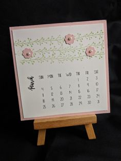 Can't believe it is nearly spring break. As a teacher, every month has it's highlight and for March, it's most definitely spring break. The name of this stamp set… Diy Calendar, Calendar Pages, Desk Calendars, Happy March, Ready To Pop, All Natural Skin Care, Spring Break, Hand Stamped, Joy