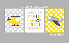 Baby Boy Nursery Stretched Canvas Art Prints, Set of 3 11x14. Plane, Alphabet, I love you, Polka dots, Yellow and Grey