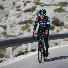 We've taken a group of competition winners to Mallorca to ride with @teamsky this weekend.  Here's @michalkwiatek on Sa Calobra, a testing climb of endless switchbacks, this morning.