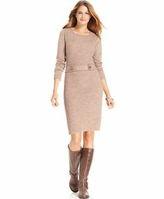 Style&co. Dress, Three-Quarter-Sleeve Ribbed-Knit Sweater Dress ...