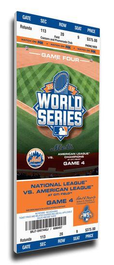 2015 World Series Game 4 Canvas Mega Ticket - New York Mets