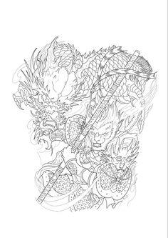 Asian Tattoos, Back Tattoos, Dragon Tattoo Colour, Japan Tattoo, Samurai Tattoo, Monkey King, Tattoo Flash Art, Woodworking Patterns, Irezumi
