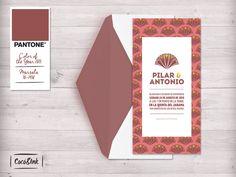Diseño Cocó&Ink. Invitación de boda realizada con Pantone Marsala, el color del año 2015!