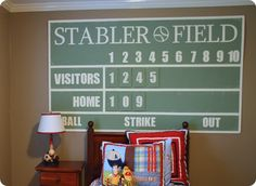 Love this sports room idea inspired by potterybarn (side not--love woody and bert on the sports bed!!  Love Boys!!)    www.knockoffdecor.com