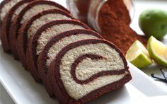 This raw Swiss roll can be enjoyed by many because it's gluten-free and grain-free; the chocolatey outer roll is made from dates and almonds and it's stuffed with a cashew cream filling that can also be made with macadamia.