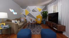 Rachael Ray Geometric Painted wall. SJM  DIY Projects for Under $50 That Can Transform an Entire Room
