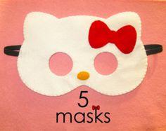 White felt cat mask for kids handmade kitty party by FeltFamily