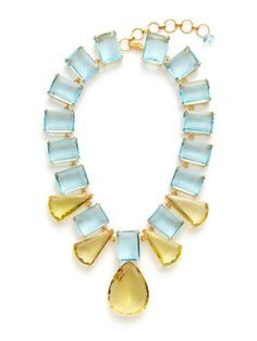 Blue & Lemon Quartz Statement Necklace by Bounkit