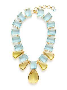 Blue & Lemon Quartz Statement Necklace by Bounkit