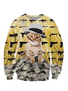 Cute Long Sleeve Smoking Cat lie in Dollars Pattern 3D Painted Hoodie - beddinginn.com
