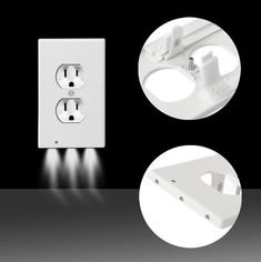 Outlet Wall Plate Led Night Lights Cover Duplex With Ambient Light Sensor New Light Sensor, Led Night Light, Nite Light, Light Building, Building Ideas, Lumiere Led, Wall Outlets, Outlet Covers, Head Boards