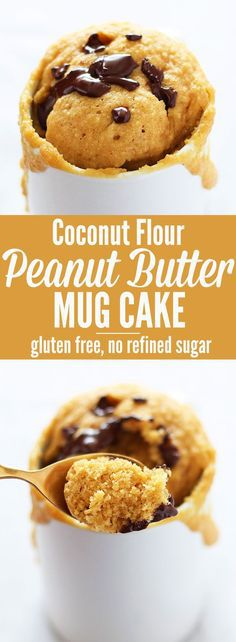 Peanut Butter Mug Cake for dessert in a flash! This healthy version is made with coconut flour which makes it gluten-free and low carb. Use almond butter to make paleo-friendly! paleo breakfast mug