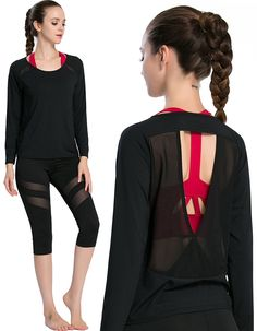 Campeak Women's Workout Long Sleeve Shirts Show Back Mesh Yarn Sport Loose T-shirt * Click image to review more details.