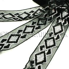 BLACK SILVER EMBROIDERY SEQUIN TRIM - sarahi.co.uk