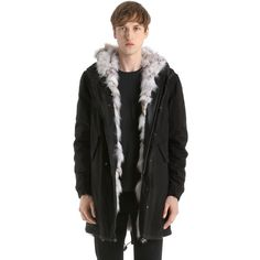 Mr&mrs Italy Men Canvas Long Parka W/ Fox Fur Lining (77.899.345 IDR) ❤ liked on Polyvore featuring men's fashion, men's clothing, men's outerwear, men's coats, black, mens fur lined coat, mens fur lined parka, mens canvas parka, mens parka coats and mens parka