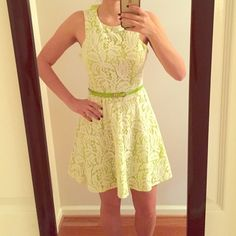 """Spring/Summer dress This dress is in EUC but is too big for me now! It would fit around a size 8! I am 5'7"""" for reference. I can switch out pics if you want more. Purchased from a boutique and is a very pretty bright green with off white lace. Can be worn with or without the belt. Dresses"""