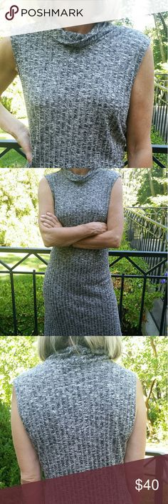 Sleeveless Knit Dress Lightweight knit pullover dress with lovely collar. Great soft gray color. BCBGMaxAzria Dresses