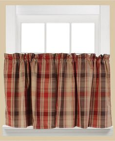 """Saturday Knight Cooper Plaid Pair of 29"""" x 36"""" Tier Curtains Bedding"""