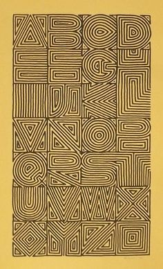 Fingerprint type Calligraphy and Lettering Design- Broadsides & Books. Maze alphabet by Sally Wightkin.